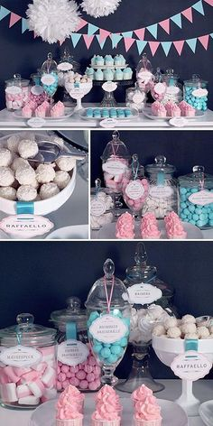 This would be a candy buffet for a baby gender reveal party 💖💙 Love the look of the candy buffet, with the small pendants the tissue poms. Baby Gender Reveal Party, Gender Party, Gender Reveal Food, Gender Reveal Cupcakes, Baby Shower Desserts, Baby Shower Decorations, Baby Shower Candy Table, Gender Reveal Party Decorations, Gender Reveal