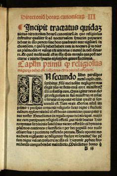 Directorio de las horas canónicas :: Incunables (Biblioteca de Catalunya)