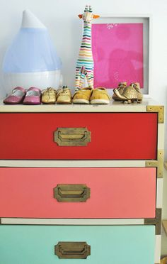 Customize your #dresser by adding colorful drawers to match your room. #toddlerroom #Nursery