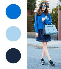 12 Fail-Proof Color Combos To Try For Winter via royal blue + powder blue + navy Color Combinations For Clothes, Color Blocking Outfits, Color Combos, Fall Fashion Colors, Fall Fashion Trends, Autumn Fashion, Colourful Outfits, Cool Outfits, Bright Winter Outfits