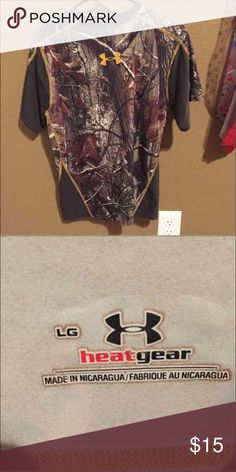 Camo Underarmour shirt size lg but since it's compression it fits like a medium, wonderful condition Under Armour Shirts