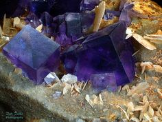 Fluorite, Baryte ~   Locality:Berbes Mining area, Ribadesella, Asturias, Spain    Beautiful deep purple fluorite cube.    Petr Fuchs' Photo