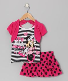 Take a look at this Pink & Black 'All About' Bolero Tee & Skirt - Toddler by Minnie's Bow-Tique on #zulily today!