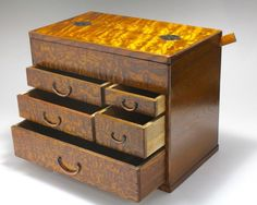 Vintage Japanese Haribako Sewing Box Jewelry Box Furniture with original ruler