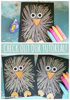 Paper Sidewalk Chalk Baby Bird Craft For Kids - Glued To My Crafts - - Our Paper & Sidewalk Chalk Baby Bird tutorial is a simple craft activity to do with your kids at home or with your class at school. Kids Crafts, Easy Crafts, Arts And Crafts, Craft Kids, Kids Diy, Toddler Crafts, Chalk Crafts, Chalk Art, Canvas Crafts