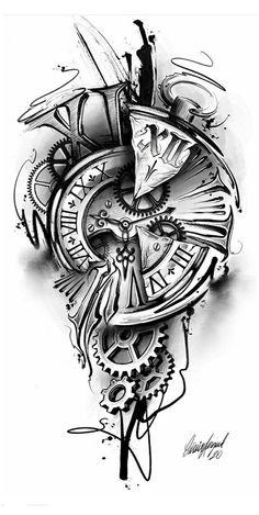 #watch #tattoo #drawing #watchtattoodrawing Clock Tattoo Sleeve, Best Sleeve Tattoos, Tattoo Sleeve Designs, Tattoo Designs Men, Time Clock Tattoo, Clock Tattoos, Phoenix Tattoo Sleeve, Half Sleeve Tattoos Drawings, Music Tattoo Sleeves