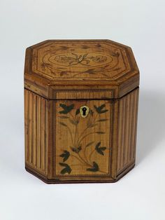 Tea caddy veneered in satinwood & other woods with painted decoration, Britain, ca. 1790 | V Search the Collections
