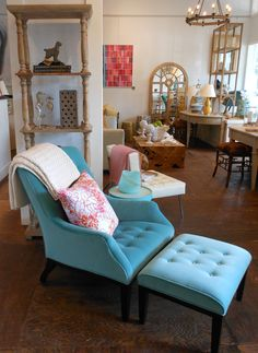 Aqua how clean and crisp looking I love the tufted chair and once again velvet