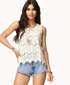 Eyelash Lace Tank by Forever 21
