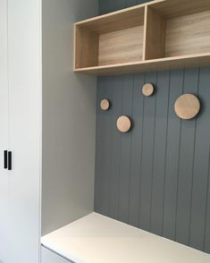 IKEA Besta cabinet and timber round knobs. Add some baskets for an easy mud room or entry Armoire Entree, Study Nook, Entry Hallway, Entryway, Mudroom, Interior Design Living Room, Room Inspiration, Building A House, House Design