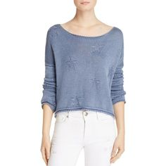 Rails Kalani Boat Neck Star Pullover (£138) ❤ liked on Polyvore featuring tops, sweaters, navy stars, blue pullover sweater, navy blue cropped sweater, navy blue pullover, patterned sweater and blue cropped sweater