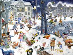 Wimmelbilder - Illustration Christa Unzner Christmas Illustration, Illustration Art, English Primary School, Christmas Art, Xmas, Visible Learning, Spanish Vocabulary, Puzzle Art, Teaching Writing