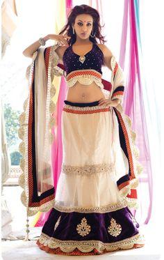 Cream Color Designer Lehenga Choli Set Color-Cream . Fabric- Net And Georgette .