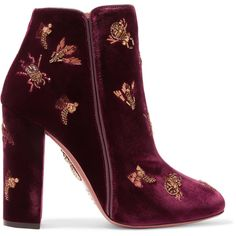Aquazzura Fauna leather-trimmed embellished velvet boots (€1.100) ❤ liked on Polyvore featuring shoes, boots, ruby red shoes, aquazzura shoes, embroidered boots, embroidered shoes and zipper boots