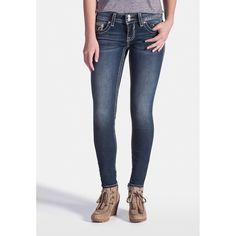 maurices Vigoss Dark Wash Jegging ($54) ❤ liked on Polyvore featuring pants, leggings, medium sandblast, slim fit pants, slim fit trousers, cotton pants, jeggings pants y dark wash jeggings