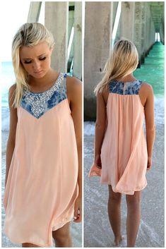 Cruise Wonders Peach & Denim Embellished Neck Sundress