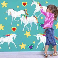 Rainbow Unicorn Wall Decal Set - Large Unicorn Wall Decal By Chromantics