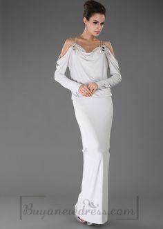 Long Empire Off-the-shoulder Evening Dress