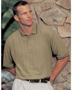 Tri-Mountain Men's Big and Tall Variegated Ribbon Pique Golf Shirt . 288
