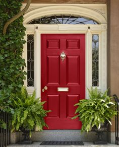 Red Front Door. For more ideas on fabulous colors for your front door, go to http://decoratingfiles.com/2012/08/8-fabulous-colors-for-front-doors/