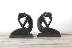 Pair of Art Deco Bookends. Mourning Lady