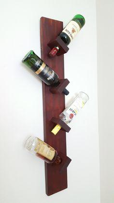 Wine / Liquor Bottle Wall Rack, Wine holder, Wine Decor, Holds 4 bottles, by WoodedWineDesigns on Etsy
