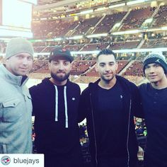 Justin Smoak, Kevin Pillar, Marco Estrada & Ryan Goins of the Toronto Blue Jays in Ottawa for a Senators game during the Jays 2016 Winter Tour Blue Jay Way, Go Blue, Kevin Pillar, Justin Smoak, 2016 Winter, American League, Baseball Season, Toronto Blue Jays, Sports Teams