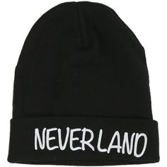 Disney Peter Pan Neverland Beanie   Hot Topic ($12) ❤ liked on Polyvore featuring accessories, hats, beanies, disney, black beanie, disney hats, beanie hats i black beanie hat