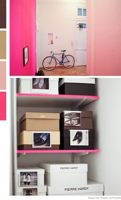 The pop of pink on the shelves is so enthusiastic! And, photos of shoes. Good idea.