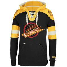 Mens Vancouver Canucks Reebok Black Pullover Hoodie 9133c55ad
