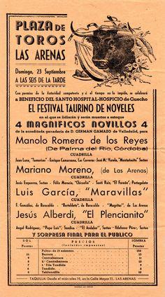 Cartel de una corrida en la plaza de toros de Las Arenas, posiblemente 1945  (ref. D0092)