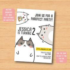 Hey, I found this really awesome Etsy listing at https://www.etsy.com/uk/listing/559651558/cat-kitty-kitten-birthday-invitation