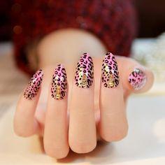 New 2014 sexy Pink gradient leopard print stiletto false nails,24 pcs, free shipping