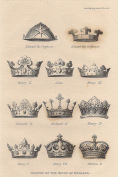 Historical British Crowns illustrations taken from historical depictions. Oliver Cromwell, republican, destroyed all of the Crown Jewels ca. 1649