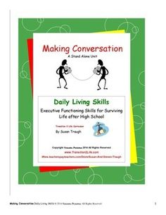 """Making Conversation"" is part of Susan Traugh's ""Daily Living Skills"" series offering transitional skills for mild-to-moderately affected special needs students and general education students alike. Written on a high third/low fourth grade level with airy-pages and bullet-point information for easy independent study, these books, nevertheless, respect teens' maturity and humor while presenting federally mandated, Indicator 13 skills needed for adult independence."