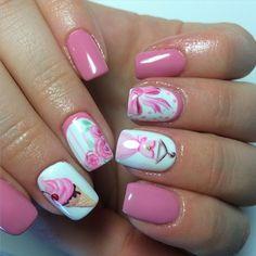 bow, cute nails, dress, fashion, floral design, girl, girly, icecream, nail art, nail fashion, pink nails, teen, nailartobsessed