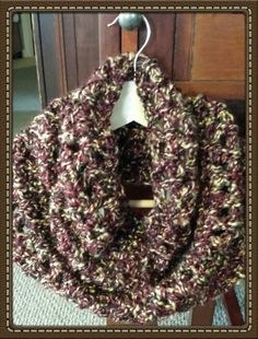 Blends of Maroon, Chocolate Brown, and Cream Crochet Cowel Handcrafted
