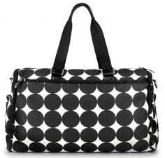 "OOYOO diaper bag ""Labor of Love"" black dot large duffel - back view"