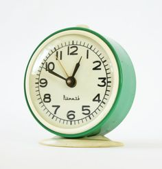 Turquoise alarm clock from Russia vintage by ClockworkUniverse, $35.00