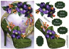 Gorgeous Summer Clematis Shoe On Golden Frame on Craftsuprint designed by Anne Lever - This lovely topper features a gorgeous green shoe and is embellished with beautiful purple clematis flowers, on a fancy golden frame. It has decoupage, four greetings and a blank greetings tile. - Now available for download!