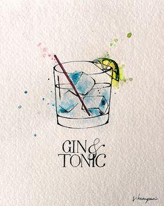 Gin & Tonic Fine Kunstdruck von original Feder und Tinte-Illustration von Sadhvi Kampani. -Geflammt und datiert auf vorne vor dem Versand.