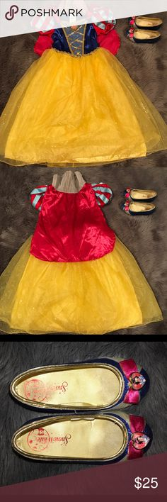 Snow White dress and shoes Excellent condition! Dress is a size 5/6 and shoes are a size 9/10. My daughter only wore this a handful of times! So cute. Disney Costumes