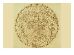Celestial Map of the Mythological Heavens with Zodiacal Characters Prints by Sir John Flamsteed - AllPosters.co.uk