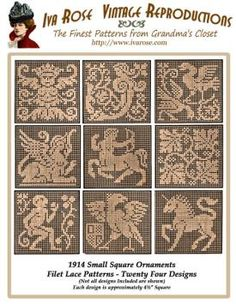 Iva Rose Vintage Reproductions - 1914 Small Square Insertions - Twenty four Designs