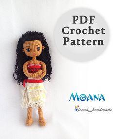 Crochet Doll Pattern Moana Princess PDF by JossaHandmadeStore