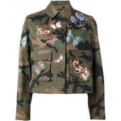 Valentino Camubutterfly Jacket ($4,790) ❤ liked on Polyvore featuring outerwear, jackets, green, brown cotton jacket, colorful jackets, multi colored jacket, multi color jacket and valentino jacket
