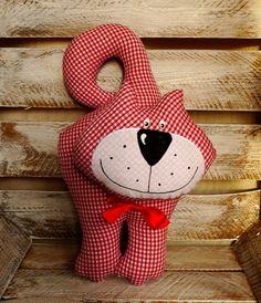 stuffed cat toy, stuffed animal toy, handmade cat toy,  vintage cat pillow £16.00