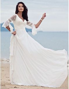 A-Line V Neck Court Train Chiffon / Floral Lace Made-To-Measure Wedding Dresses with Lace by LAN TING BRIDE / Beach / Destination