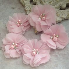 Chiffon flowers pearl and rhinestone flowers headband flowers fabric flowers material flowers lace flowers supply flowers This lot of five chiffon flowers is perfect for all your DIY needs. A beautiful pale pink colored chiffon is adorned with rhinestones Tulle Flowers, Cloth Flowers, Fabric Roses, Chiffon Flowers, Diy Flowers, Headband Flowers, Flower Fabric, Chiffon Fabric, Wedding Flowers