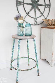 This painterly stool is a fun project for the novice painter or the pro. Learn the three techniques to create the look + giveaway! Crafty Projects, Fun Projects, Napoleonic Blue, Greek Blue, Copper Paint, Craft Room Decor, Stir Sticks, Color Swirl, Valentine Crafts